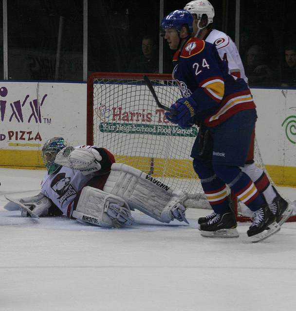 Netminder Bobby Goepfert makes a save in the third period