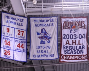 Retired jerseys and championship banners, from three different leagues worth of Milwaukee Admirals. (Photo: J. Propst)