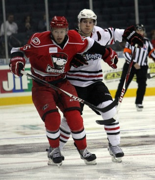Jeremy Welsh and the Charlotte Checkers were unable to stop the Rockford IceHogs, losing both games at home this weekend. (Photo - J. Propst)