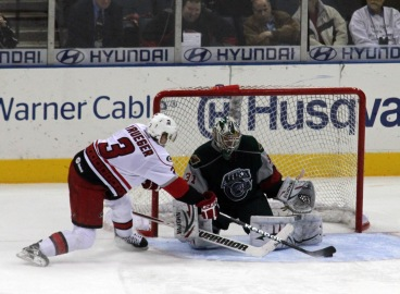 Justin Krueger scores in the seventh round for the Charlotte Checkers (Photo - J. Propst)
