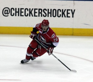 Luke Pither makes his debut as a member of the  Charlotte Checkers. (Photo - J. Propst)