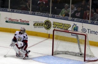 Grand Rapids Griffins goaltender Petr Mrazek reacts to a goal by Luke Pither. (Photo - J. Propst)