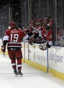Zac Dalpe scored the game winning goal.  Charlotte beat the San Antonio Rampage 2-1. (Photo - J. Propst)