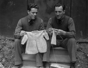 Jacques Plante knitting. (Photo credit unknown)