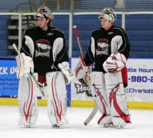 Could this be the future of Charlotte Checkers goaltending? Mike Murphy and John Muse  both worked with Hurricanes goaltending coach Tom Barrasso. (Photo - J. Propst)
