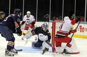 Zach Boychuk had three goals in three games against the Barons. All three were scored on Yann Danis. (Photo - J. Propst)
