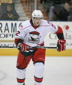 Jared Staal as a rookie in 2010 for the Charlotte Checkers.  (Photo - J. Propst)