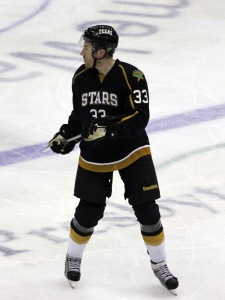 Mike Commodore, a defenseman for the Texas Stars, played his first-ever game in Charlotte against the Checkers on Thursday. (Photo - J. Propst)