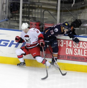 Dan Biega had two assists, his first professional points, in the Charlotte Checkers 6-1 victory over the OKC Barons. (Photo - J. Propst)