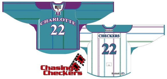 Fantasy jersey proposal for a Charlotte Hornets themed Charlotte Checkers jersey. Credit to ChasingCheckers.com