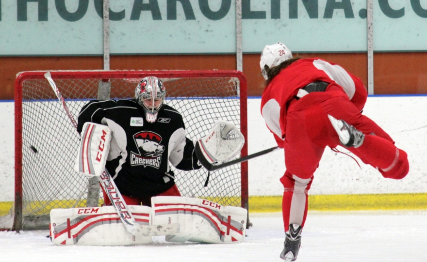 Matt Marquart (and his hair) score on Charlotte Checkers goaltender extraordinaire Mike Murphy. (Photo - J. Propst)