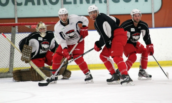 Stefan Della Rovere, Beau Schmitz, Mark Flood and Jesse Deckert participate in a Charlotte Checkers training camp drill.  (Photo - J. Propst)