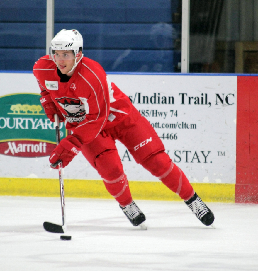 Adam Brace, signed to an AHL contract over the summer, participates in his first Charlotte Checkers training camp. (Photo - J. Propst)