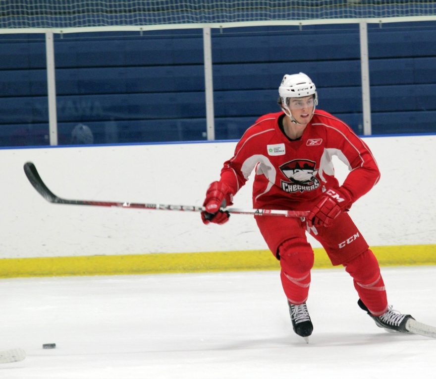 Brodry Sutter, who served as the captain of the Hurricanes at the Traverse City tournament, participates in a drill at Charlotte Checkers training camp. (Photo - J. Propst)