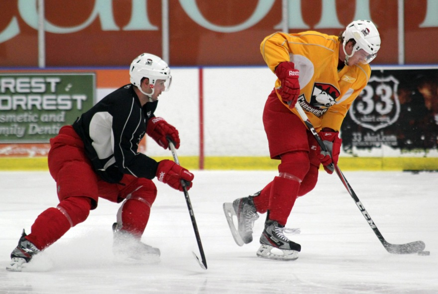 Danny Biega and Kyle Bonis participate in a drill at Charlotte Checkers training camp. (Photo - J. Propst)