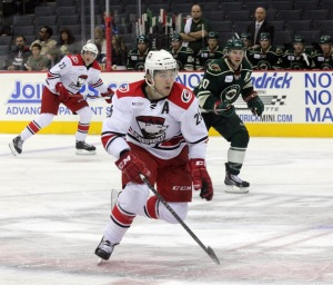 Checkers Alternate captain Chris Terry scored one of only two goals for Charlotte. In four games played, he leads the team with four points (3g, 1a). (Photo - J. Propst)