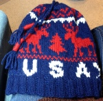 Knit your own Team USA hat like the athlete's are wearing in Sochi! (Designed by me, photo credit -  E. Kinsman)